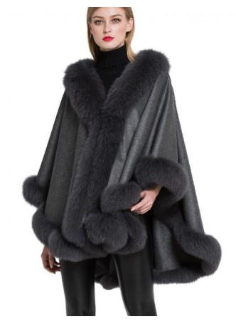 Cashmere Cape Shawl Wrap with Fox Fur Gray SALE!  Women's