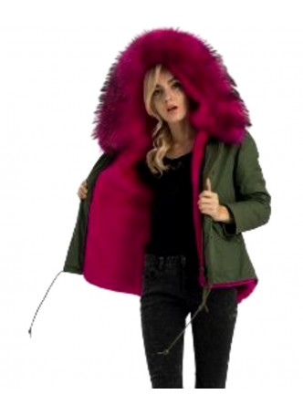 Women's Military Army Green Winter Coat Jacket Parka Pink Finn Raccoon Fur Rex Rabbit Lining