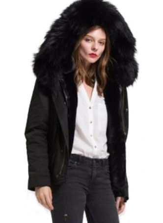 Women's 6/8 S/M Black Winter Jacket Coat Parka Black Raccoon Fur HOOD Fur Lining