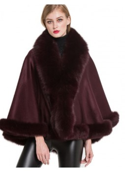 Cashmere Cape Shawl Wrap with Fox Fur Burgundy SALE!  Women's
