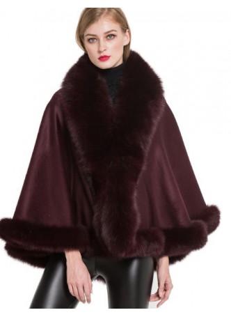 Cashmere Cape Shawl Wrap with Fox Fur Burgundy SALE!  Women's