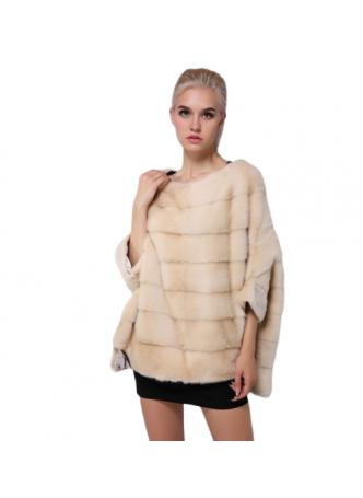 Mink Fur Sweater Poncho Cape Bolero Jacket Coat Women's Pearl Cream