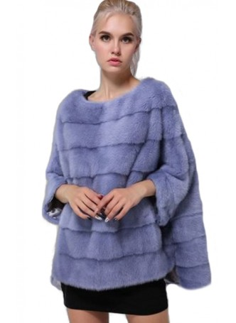 Mink Fur Sweater Poncho Cape Bolero Jacket Coat Women's Light Blue