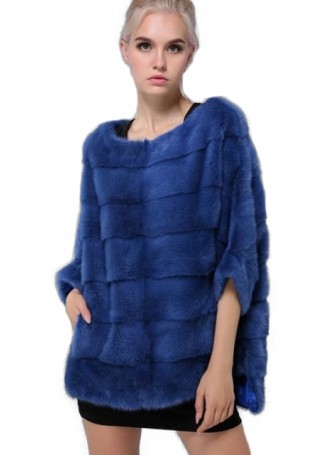 Mink Fur Sweater Poncho Cape Bolero Jacket Coat Women's Dark Blue