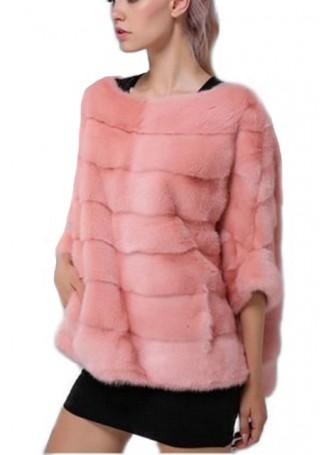 Mink Fur Sweater Poncho Cape Bolero Jacket Coat Women's Rose Peach
