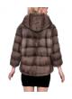 Mink Fur Jacket Coat with HOOD Women's Blue Iris