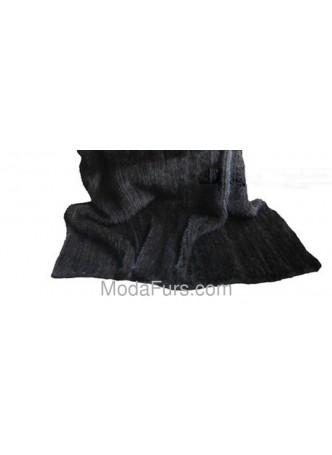 "Knitted Mink Fur Black Dark Ranch Throw Blanket Bedspread Rug  100"" x 80"" Home Decor"