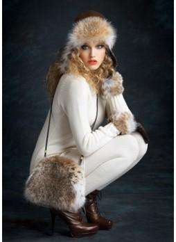Lynx Fur Purse Shoulder Bag Cross-Body Hand Muff Warmer Women's