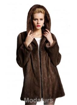 Mink  Fur Coat Jacket Stroller with Hood Women's