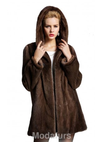 Mink  Fur Coat Jacket Stroller with Hood Women's