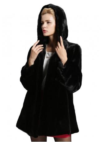 Mink Fur Coat Jacket Parka with Hood Natural Dark Ranch Women's