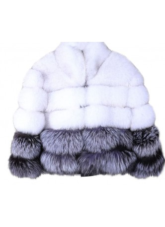 Silver & Norwegian Blue Fox Fur Jacket  Coat Bolero Women's