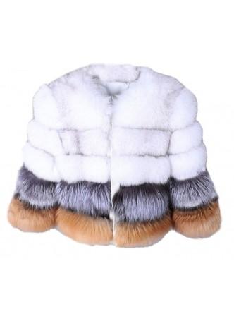 Silver Norwegian Blue Red Fox Fur Jacket  Coat Bolero Women's