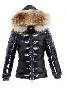 Shiny Black Down  Jacket Coat with Hood and Finn Raccoon Fur Women's