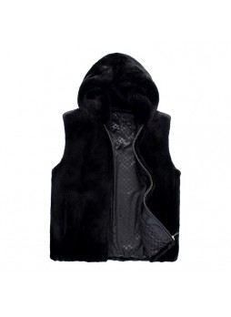 Men's Mink Fur Vest with Hood, Dark Ranch Black