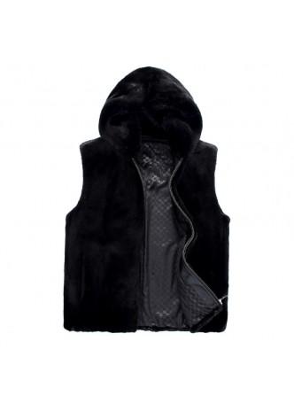 Men's Mink Fur Vest with Hood, Dark Ranch Black
