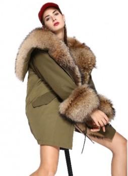 Military Style Army Green Winter Coat Jacket Parka with Hood Finn Raccoon Fur Women's