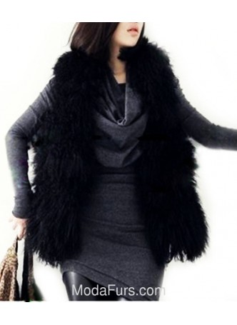 Mongolian Lamb Fur Vest Black  Women's