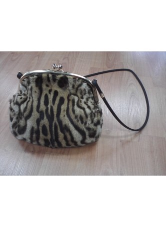 Ocelot Fur Purse Shoulder Bag Cross-Body Hand Muff Warmer Women's