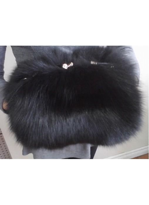 Fox Fur Black Purse Shoulder Bag Cross Body Hand Muff