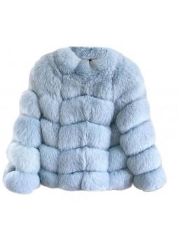 Fox Fur Jacket Coat Bolero Blue  Women's