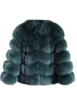 Fox Fur Jacket Coat Bolero Green Women's