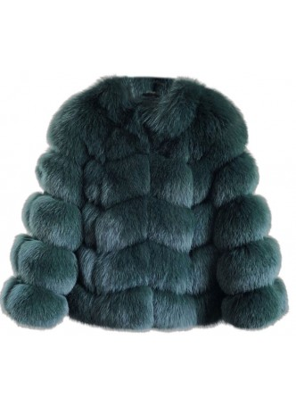 Fox Fur Jacket Coat Bolero Green Women's