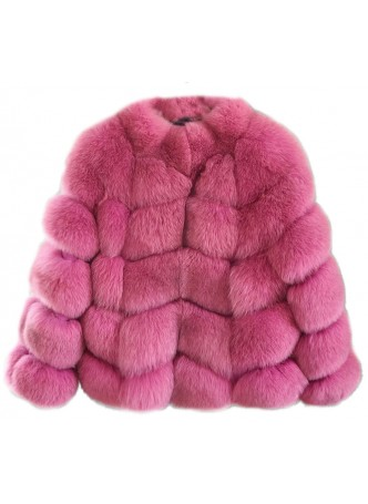 Fox Fur Jacket Coat Bolero Pink  Women's