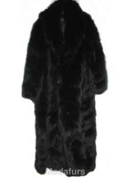 Men's Black Fox Fur Coat with Detachable Hood XL for Man