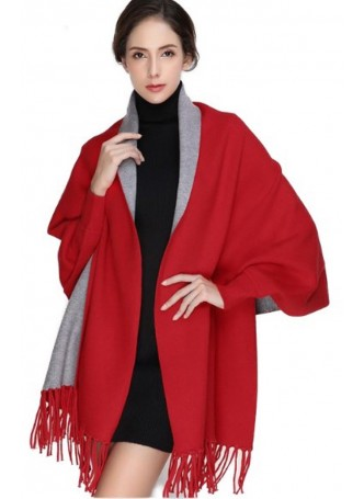 Wool Blend Shawl Cape Wrap with Sleeves Red Grey Gray Women's