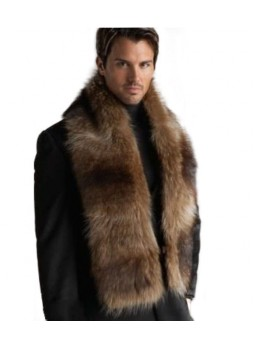 Raccoon Fur Scarf Collar Men's