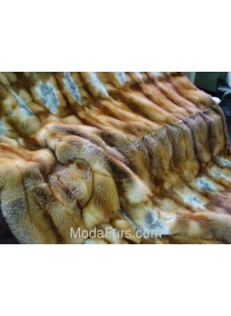 Red (Natural) Fox Fur Plate Throw Blanket Bedspread Rug  Home Decor