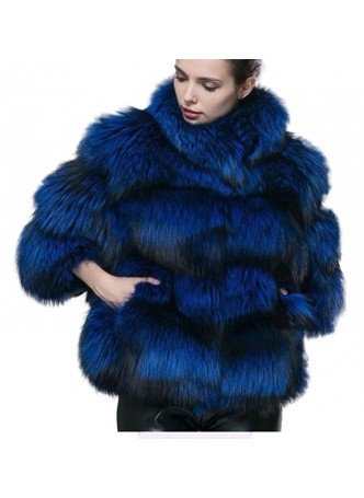 Fox Fur Jacket Coat Royal Blue Bolero Women's