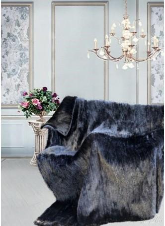 "Knitted Mink 100% Fur Black Dark Ranch Throw Blanket Bedspread Rug  100"" x 80"" Home Decor"
