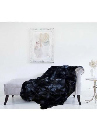 Fox Fur Black Plate Throw Blanket Bedspread Rug Home Decor