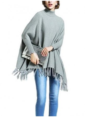 Wool 100% , Gray Grey Sweater Poncho with Sleeves !!
