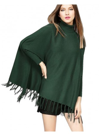 Wool 100% , Green Sweater Poncho with Sleeves !!
