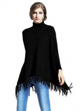 Wool 100% , Black Sweater Poncho with Sleeves !!