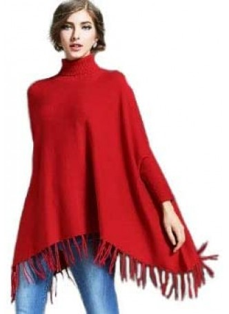 Wool 100% , Red Sweater Poncho with Sleeves !!