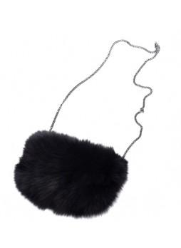 Fox Fur Black Bag Purse Shoulder Bag Cross-Body Hand Muff Warmer Women's