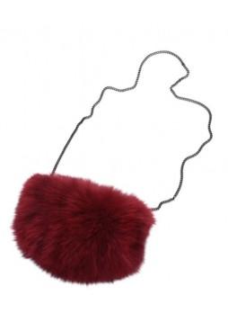 Fox Fur Burgundy Bag Purse Shoulder Bag Cross-Body Hand Muff Warmer Women's
