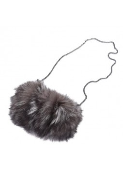 Fox Fur Natural Silver Bag Purse Shoulder Bag Cross-Body Hand Muff Warmer Women's