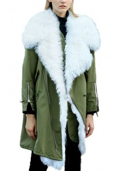 Military Style  Army Green Winter Coat Parka with White Curly Lamb Fur Detachable Lining  Women's