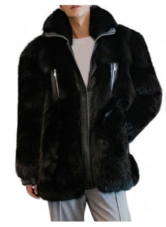 Fox Fur Coat Jacket Coat Bomber Men's Leather Black