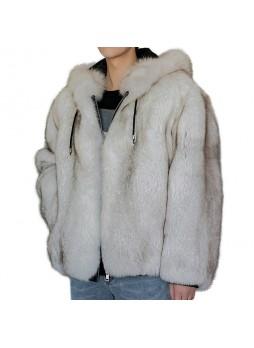 Fox Fur Coat Jacket Coat Bomber Norwegian Blue, Gray, Hood, Men's