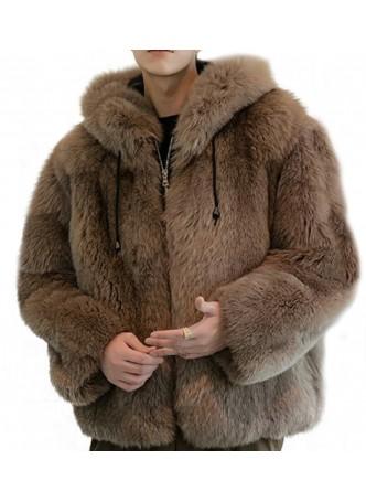 Fox Fur Coat Jacket Coat Bomber Men's Hood Brown