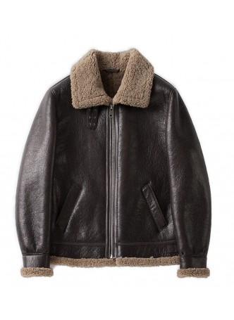 Shearling Lamb Fur Leather Jacket Coat Sheepskin Fur Lining  Men's Sz L Brown