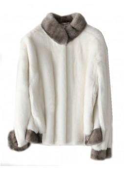 Mink Fur Coat Jacket Bolero Natural  Iris Blue White Women's Sz S M