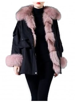 Winter Jacket Coat Parka Black with Pink Fox Fur Trims & Lining Women's