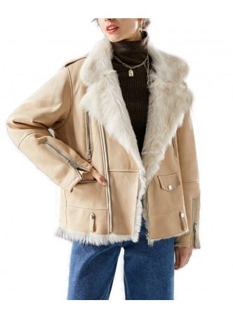 Shearling Sheepskin Leather Lamb Fur Jacket Coat Size S M Women's  Beige